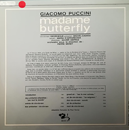 photo du disque Madame Butterfly, verso